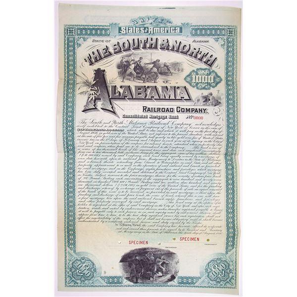 South & North Alabama Railroad Co. 1886 Specimen Bond