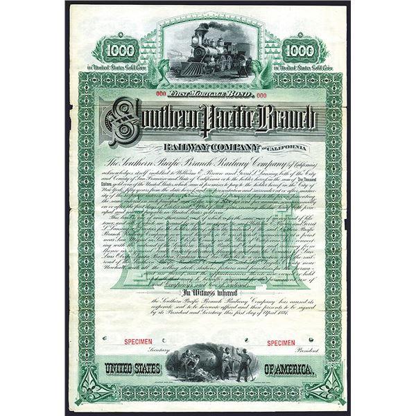 Southern Pacific Branch Railway Co., of California, 1887 Specimen Bond.