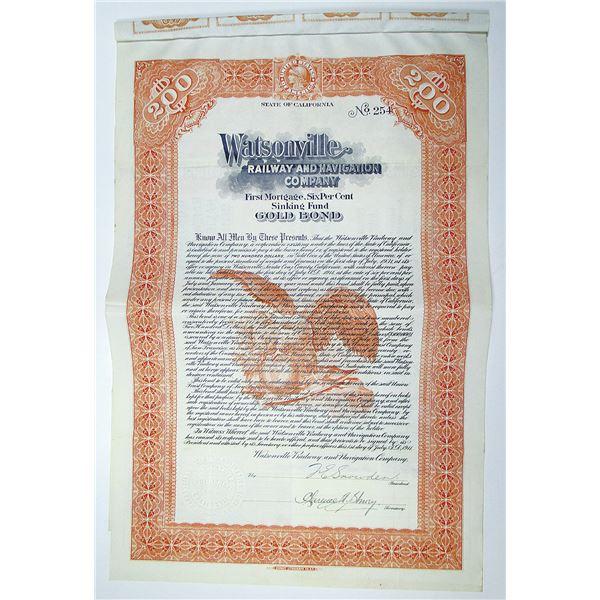 Watsonville Railway and Navigation Co. 1911 Bond Rarity