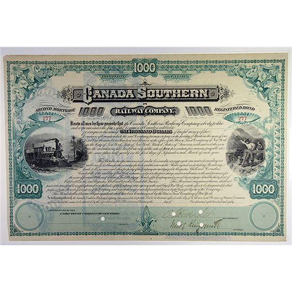 Canada Southern Railway Co., ca.1880s Partially Issued Bond Signed by Cornelius Vanderbilt II.