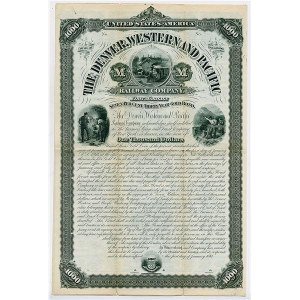 Denver, Western and Pacific Railway Co., 1881 Specimen Coupon Bond.