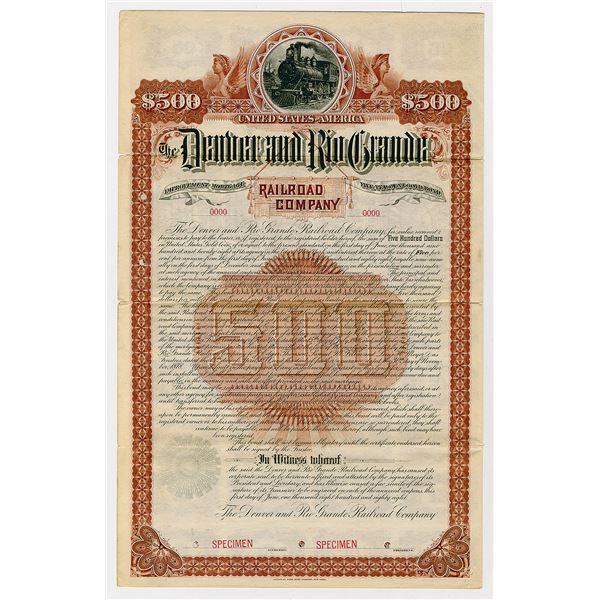 Denver and Rio Grande Railroad Co., 1888 Specimen Bond
