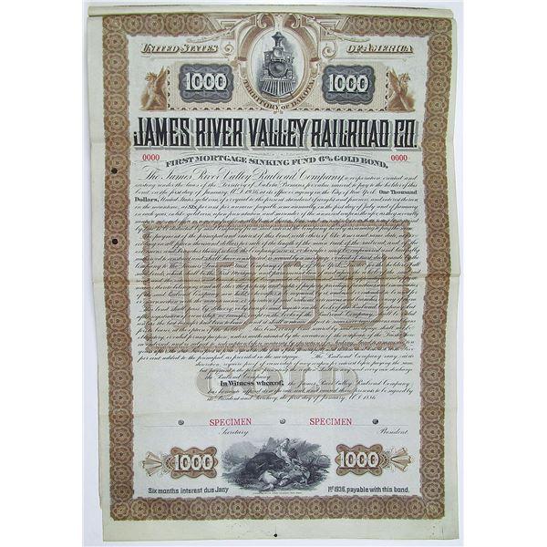James River Valley Railroad Co. 1886 Specimen Bond Rarity