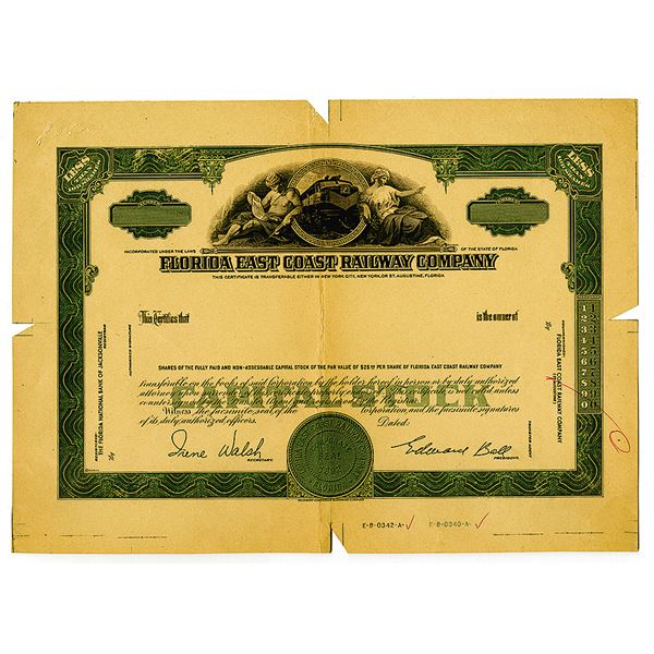 Florida East Coast Railway Co., 1940-50's Progress Proof Stock Certificate