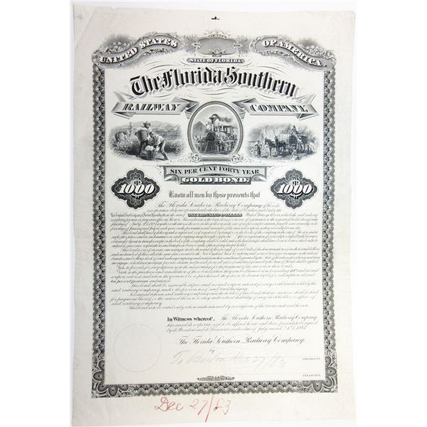 Florida Southern Railway Co., 1883 Proof Bond