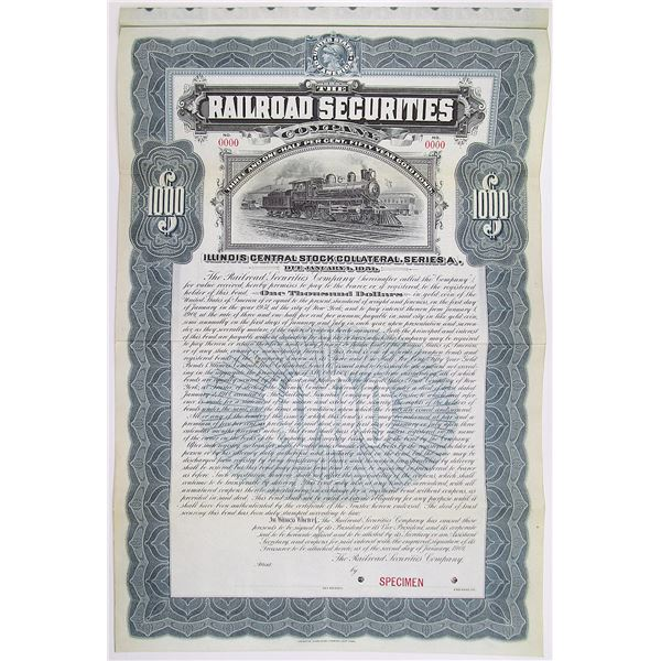 Railroad Securities Co. 1901 Specimen Bond Rarity