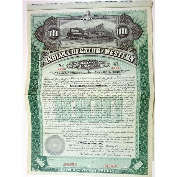 Indiana, Decatur and Western Railway CO., 1895 Specimen Bond