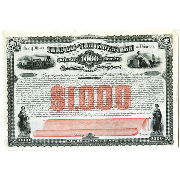 Chicago and Northwestern Railway Co. 1865 Unlisted Specimen Bond Rarity from a New Find.