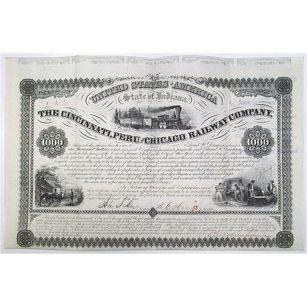 Cincinnati, Peru and Chicago Railway Co. 1855 I/U Coupon Bond