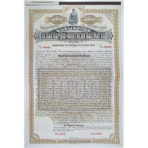 Burlington, Cedar Rapids and Northern Railway Co. 1884 Specimen Bond