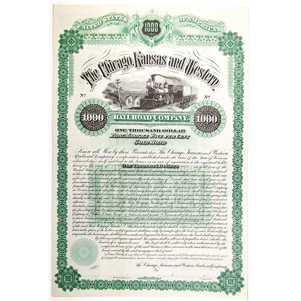 Chicago, Kansas and Western Railroad Co. 1886 Specimen Bond