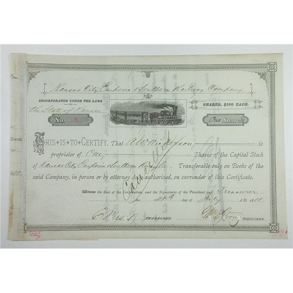Kansas City, Emporia & Southern Railway Co. 1888 Unlisted Stock Certificate Design.