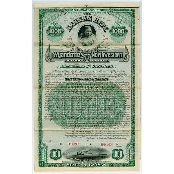 Kansas City, Wyandotte and Northwestern Railroad Co. 1888 $1000 Specimen Bond