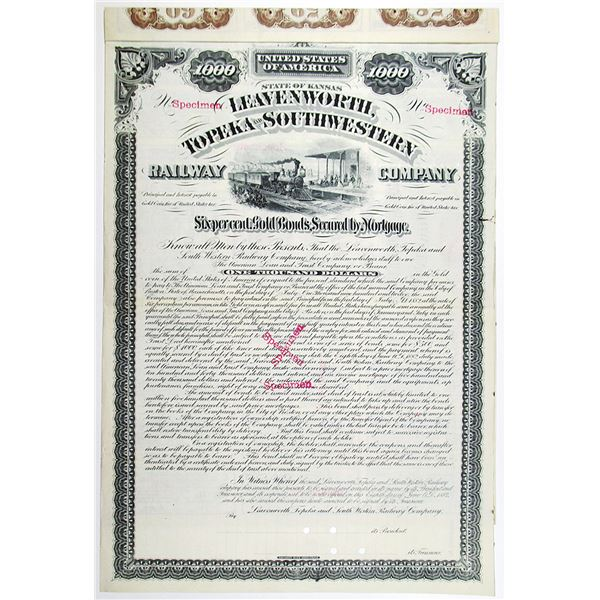 Leavenworth, Topeka and Southwestern Railway Co. 1882 Specimen Bond