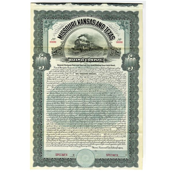 Missouri, Kansas and Texas Railway 1906 Specimen Bond