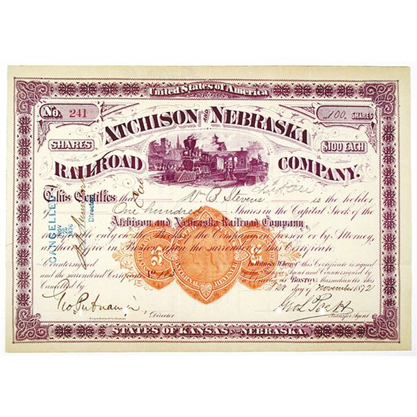Atchison and Nebraska Railroad Co. 1872 I/C Stock Certificate with Imprinted Revenue