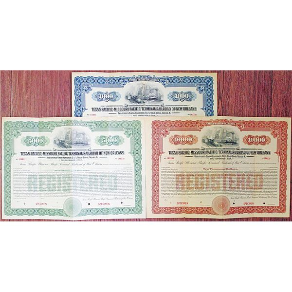Texas Pacific-Missouri Pacific Terminal Railroad of New Orleans, 1924 Specimen Bond Trio Rarity