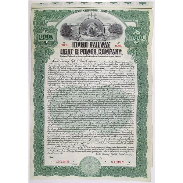 Idaho Railway, Light & Power Co. 1911 Specimen Bond Rarity