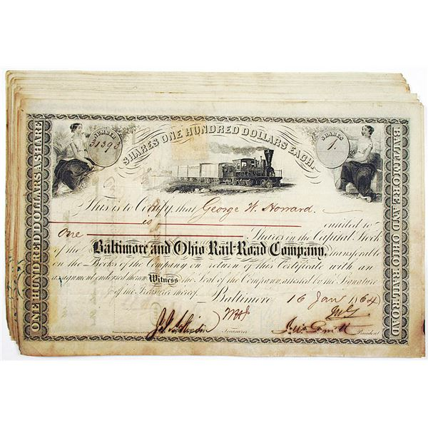 Baltimore and Ohio Rail-Road Co. 1864 I/C Stock Certificate Group of 40