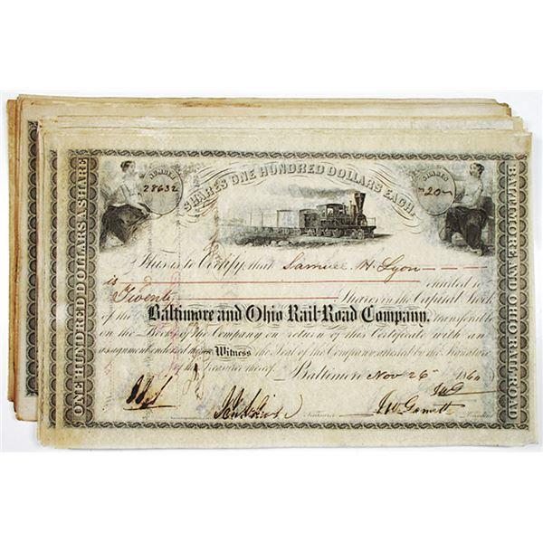 Baltimore and Ohio Rail-Road Co., 1860 & 1863 I/C Stock Certificate Group of 40