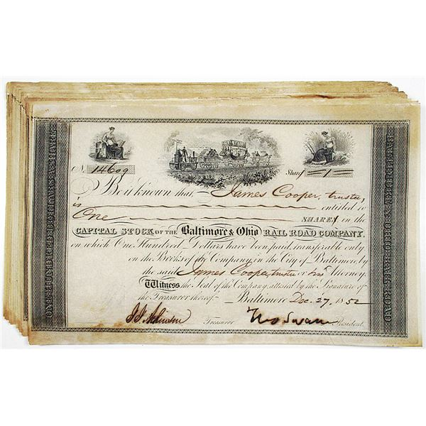 Baltimore & Ohio Rail Road Co. 1852 I/C Stock Certificate Group of 20