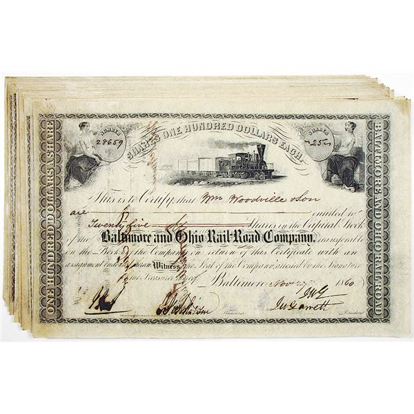 Baltimore and Ohio Rail-Road Co. 1860 I/C Stock Certificate Group of 40