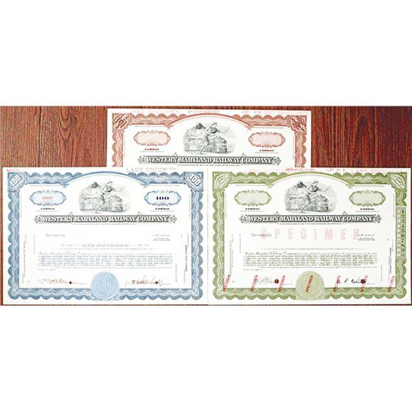 Western Maryland Railway Co. Specimen Stock Certificate Trio, 1969-1972
