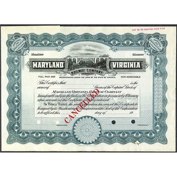 Maryland Virginia Railway Co. 1900-1920 Specimen Stock Certificate.