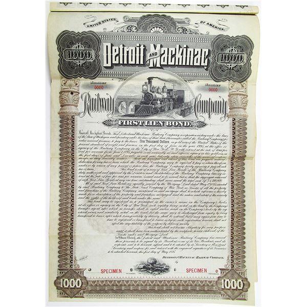Detroit and Mackinac Railway Co. 1895 Specimen Bond Rarity