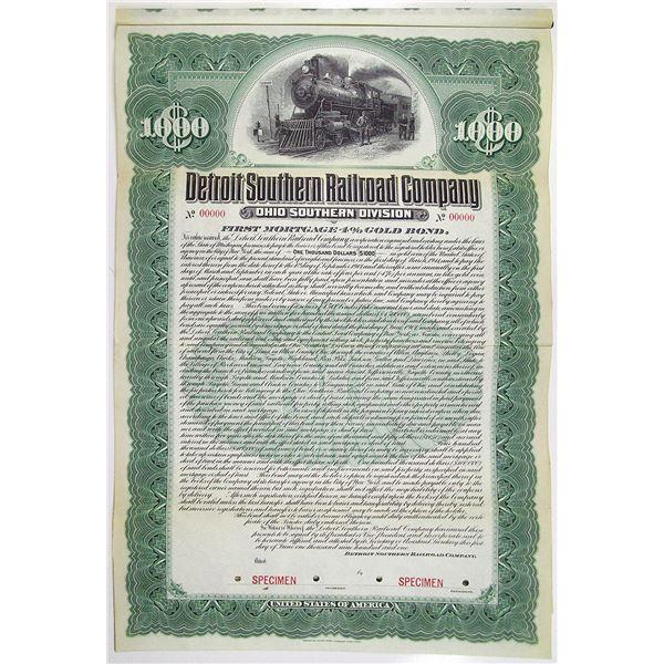 Detroit Southern Railroad Co. 1901 Specimen Bond Rarity