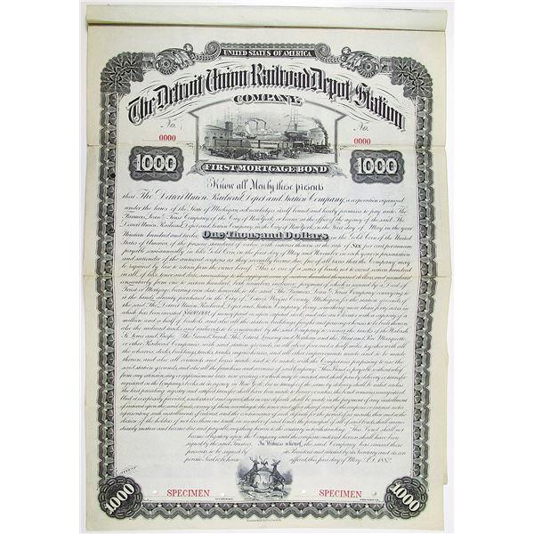Detroit Union Railroad Depot and Station Co. 1882 Specimen Bond