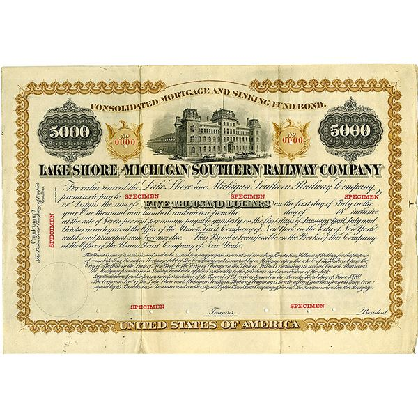 Lake Shore and Michigan Southern Railway Co., 1870 Specimen Bond.
