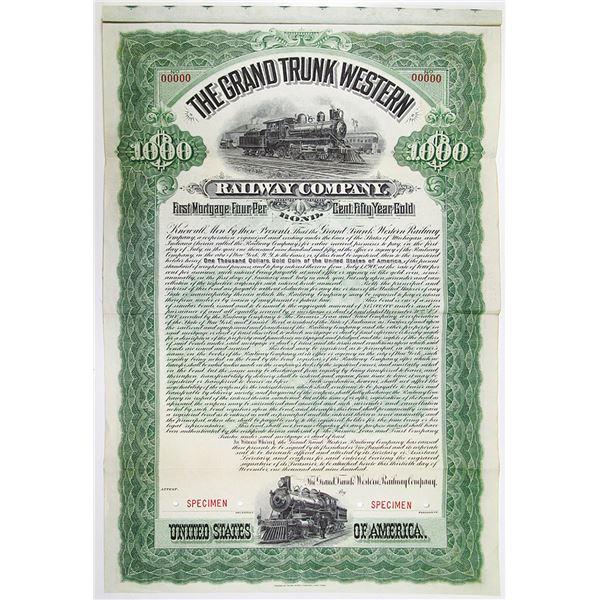 Grand Trunk Western Railway Co. 1900 Specimen Bond Rarity