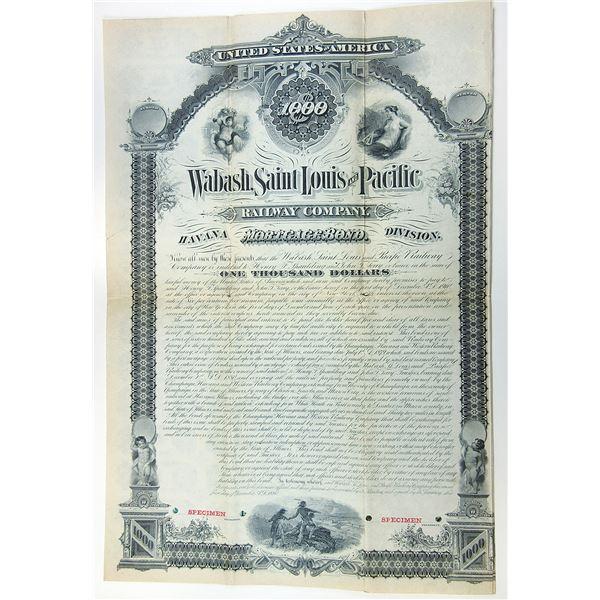 """Wabash, St. Louis and Pacific Railway Co. 1880 """"Havana Division""""  Specimen Bond."""