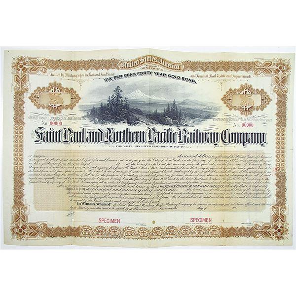 Saint Paul and Northern Pacific Railway Co. 1904 Specimen Bond