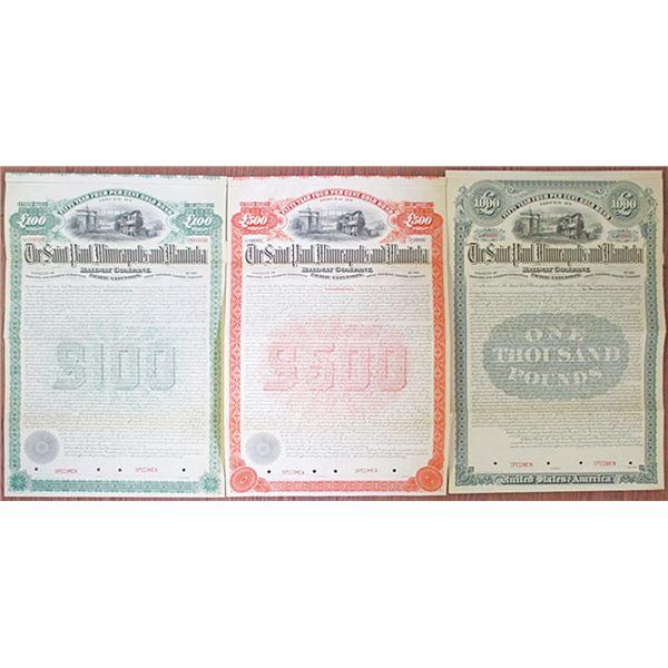 Saint Paul, Minneapolis and Manitoba Railway Co. 1890 Specimen Bond Trio