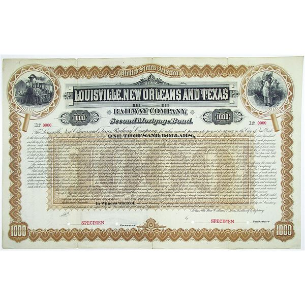 Louisville, New Orleans and Texas Railway Co. 1886 Specimen Bond Rarity