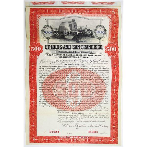 St. Louis and San Francisco Railroad Co. 1900 Specimen Bond