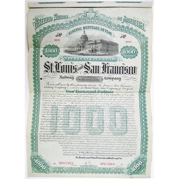 St. Louis and San Francisco Railway Co. 1881 Specimen Bond
