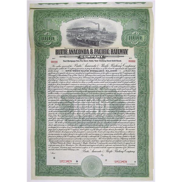 Butte, Anaconda & Pacific Railway Co. 1914 Specimen Bond