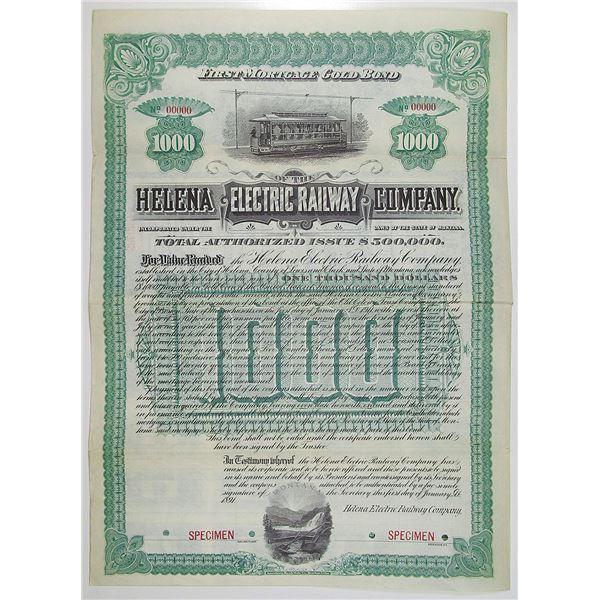 Helena Electric Railway Co. 1891 Specimen Bond Rarity