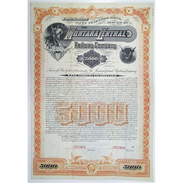 Montana Central Railway Co. 1887 Specimen Bond