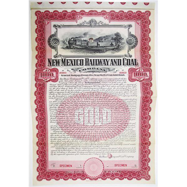 New Mexico Railway and Coal Co. 1903 Specimen Bond