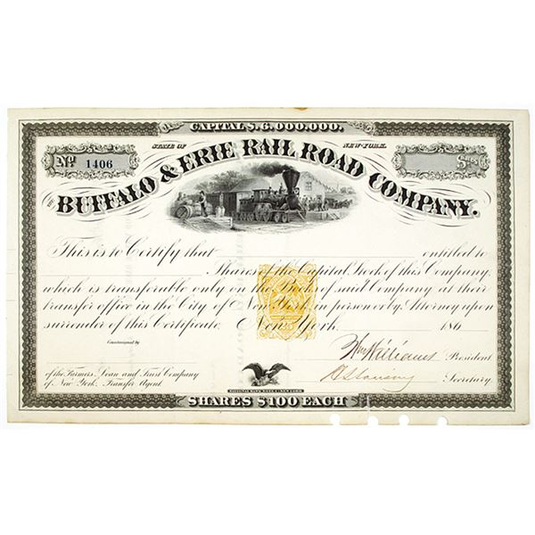 Buffalo & Erie Rail Road Co., ca. 1860s Remainder Stock Certificate with Imprinted Revenue.
