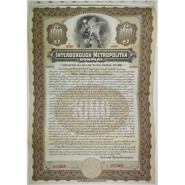 Interborough-Metropolitan Co., 1906 Specimen Bond