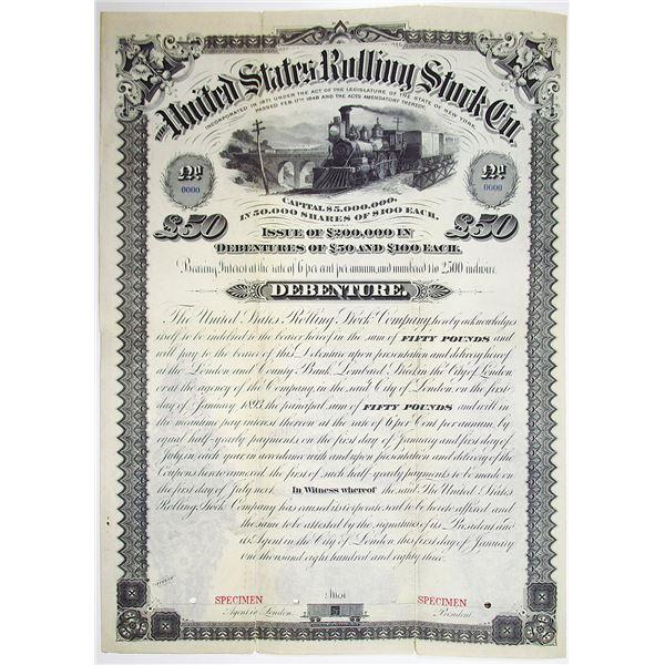 United States Rolling Stock Co. 1883 Specimen Bond Rarity