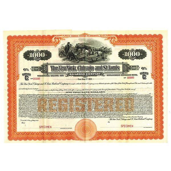 New York, Chicago, and St. Louis Railroad Co., 1922 Specimen Bond