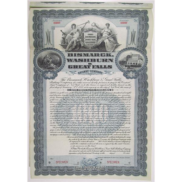Bismarck, Washburn & Great Falls Railway Co. 1900 Specimen Bond