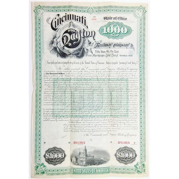 Cincinnati and Dayton Railway Co., 1887 Specimen Bond