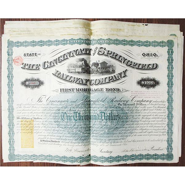 Cincinnati and Springfield Railway Co. 1871 Issued Bond Group of 14